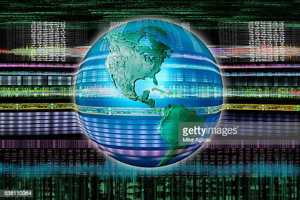 earth surrounded by digital information - mike agliolo stock photos and pictures