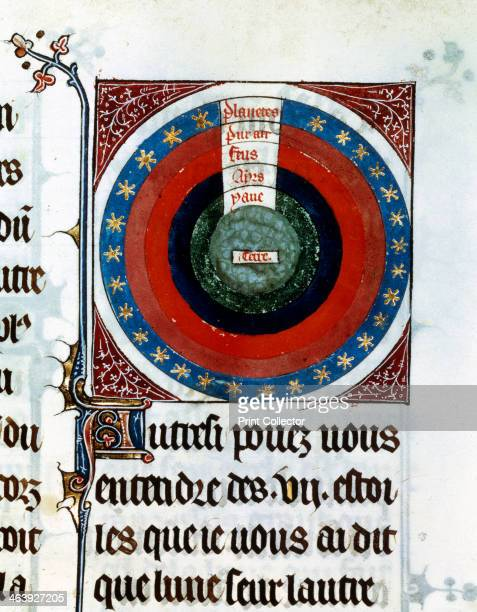 Earth surrounded by Water Air Fire the planets and stars 13th century Astronomical diagram showing the Earth centre surrounded by the three other...