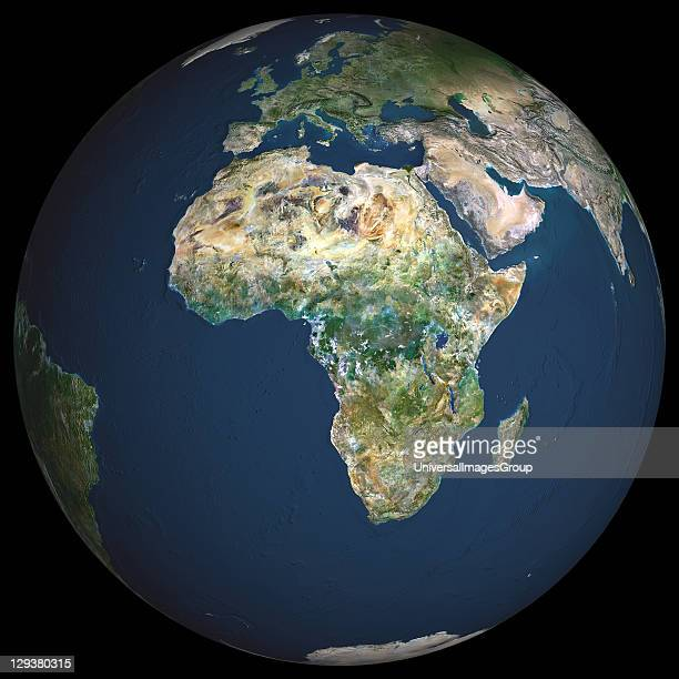 Earth True colour satellite image of the Earth centred on Africa North is at top Water is blue vegetation is green arid areas are brown and snow and...