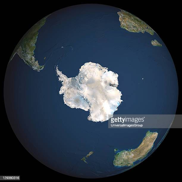 Earth True colour satellite image of the Earth centred on Antarctica The South Pole is at centre Antarctica is a frozen continent permanently covered...