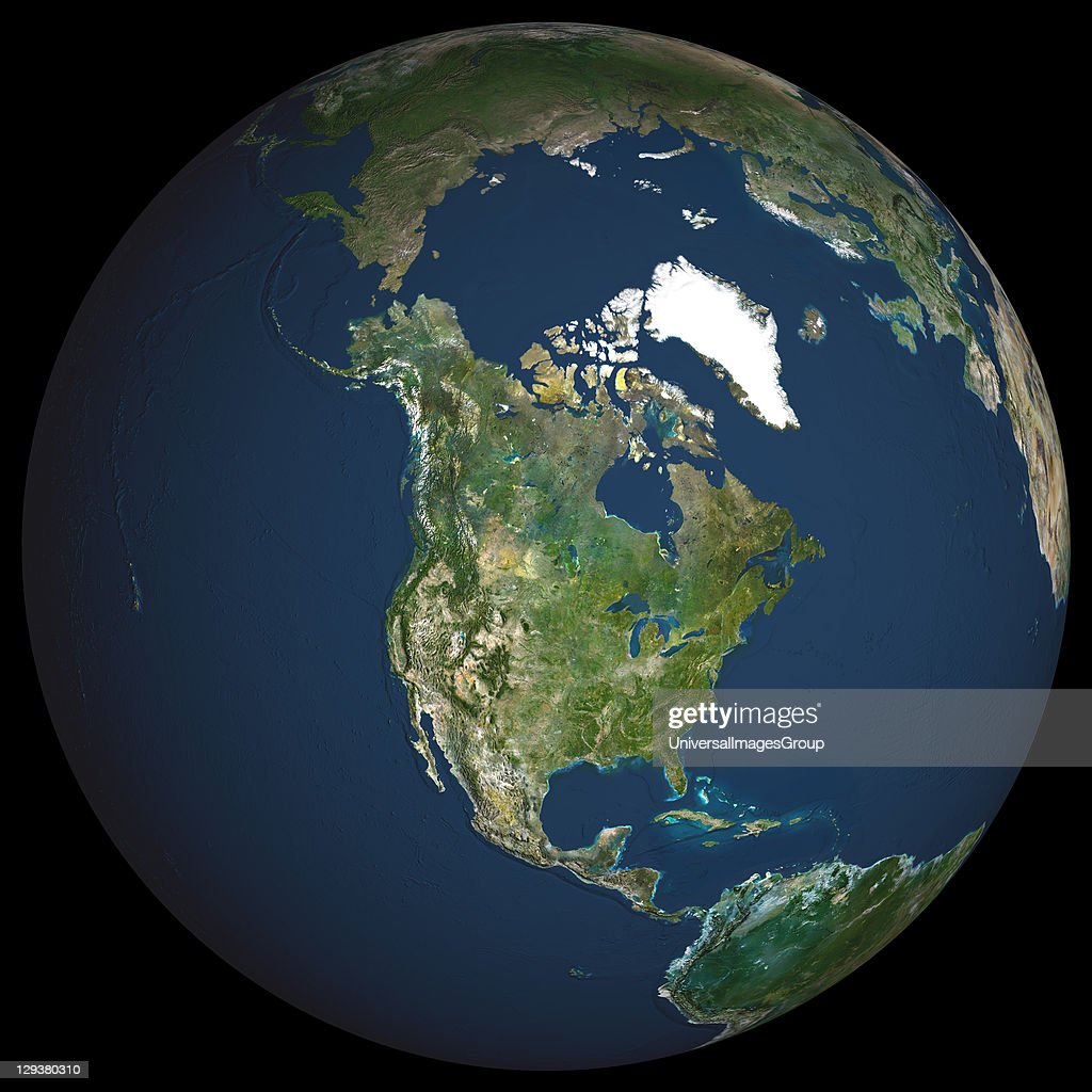 Globe North America, True Colour Satellite Image : News Photo