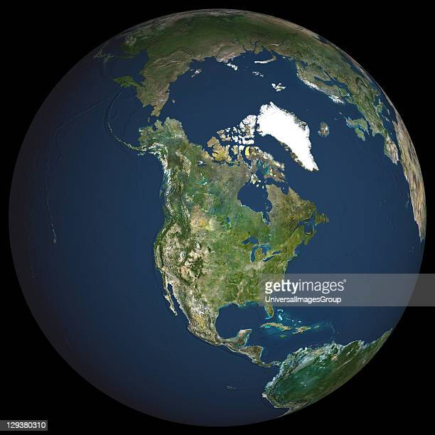 Earth True colour satellite image of the Earth centred on North America The North Pole is at upper centre Water is blue vegetation is green arid...