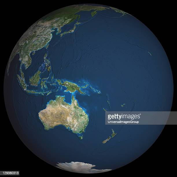 Earth True colour satellite image of the Earth centred on the region of Oceania North is at top Water is blue vegetation is green arid areas are...