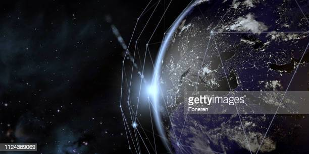 earth view from space with global communication network - global stock pictures, royalty-free photos & images