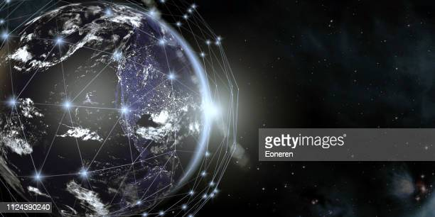 Earth View From Space With Global Communication Network