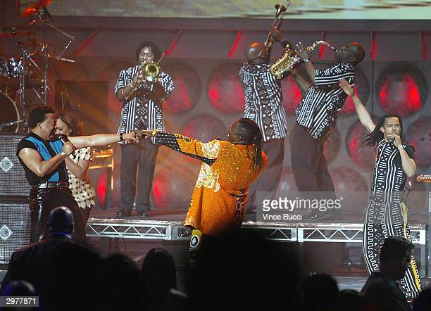 Earth Wind and Fire perform on stage at A Tribute to Magic Johnson The official tipoff to NBA AllStar 2004 Entertainment at the Shrine Auditorium...
