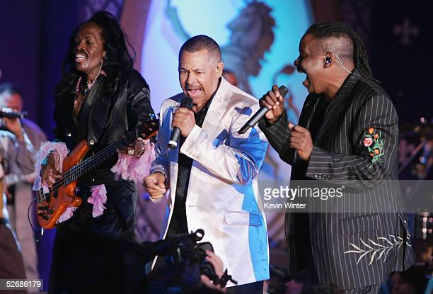 Earth Wind and Fire performs at the 12th Annual Rock and Royalty to Erase MS and Tommy Hilfiger Fashion Show at the Century Plaza Hotel on April 22...