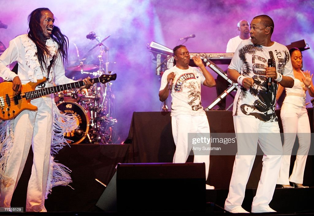 Earth Wind and Fire Verdine White, Philip Bailey and Ralph Johnson performs at the last night of the Bermuda Music Festival at the National Sports Center on October 6, 2007 in Bermuda.