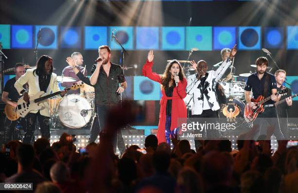Earth Wind Fire and Lady Antebellum perform during the 2017 CMT Music Awards at the Music City Center on June 7 2017 in Nashville Tennessee
