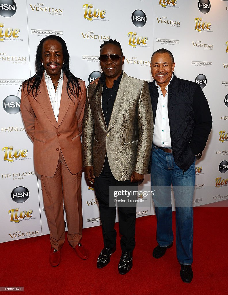 Earth, Wind & Fire founding members Verdine White, Philip Bailey and Ralph Johnson arrive for their HSN Live broadcast special at The Venetian Las Vegas on August 30, 2013 in Las Vegas, Nevada.