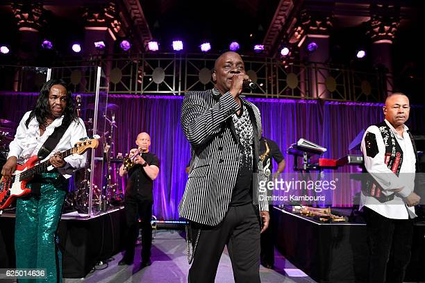 Earth Wind Fire perform onstage during the 2016 Angel Ball hosted by Gabrielle's Angel Foundation For Cancer Research on November 21 2016 in New York...