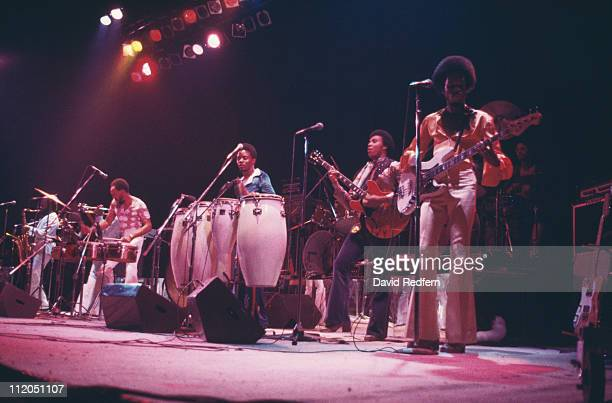 Earth Wind Fire US funk band performing live in concert circa 1980