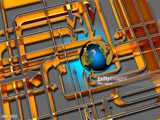 earth with arrows pointing at it - mike agliolo stock photos and pictures