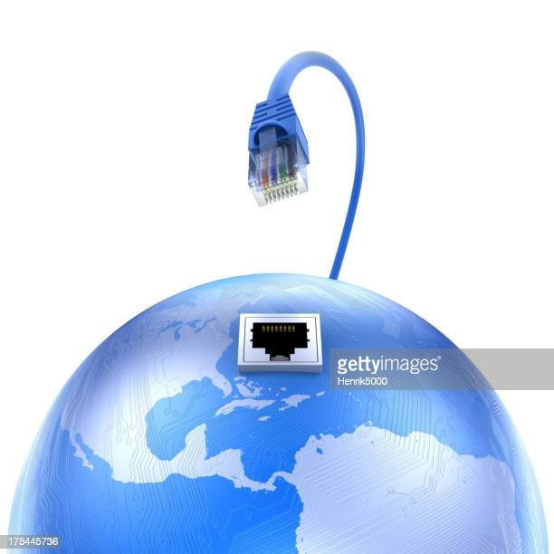 Earth with circuits and ethernet cable - isolated clipping path