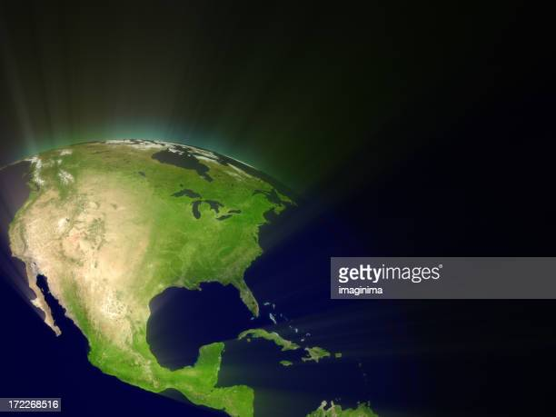 Earth with Light Rays I (North America)