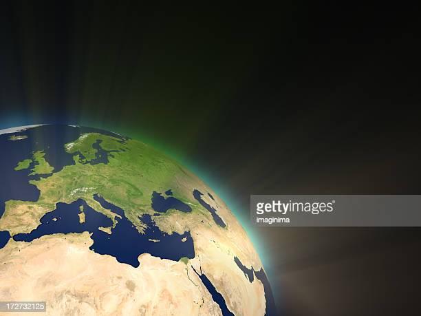Erde mit Sonnenstrahlen ich (Europa