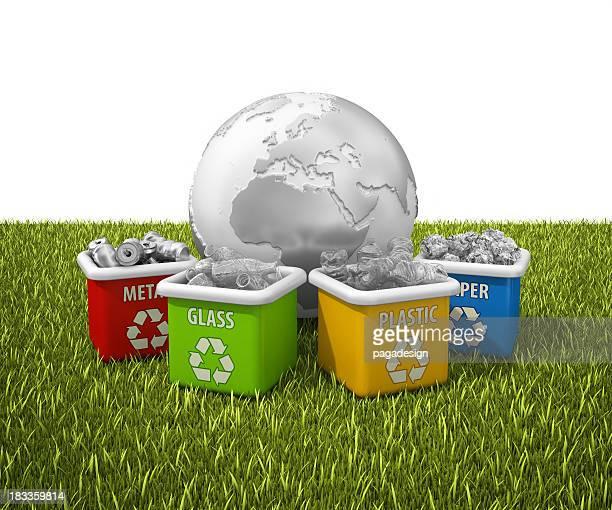 Tierra en contenedores de reciclaje