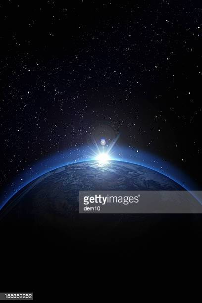 earth with stars - space station stock pictures, royalty-free photos & images
