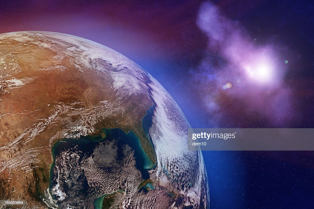 Earth with stars : Stock Photo