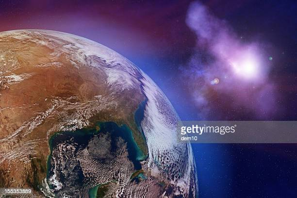 earth with stars - space exploration stock photos and pictures