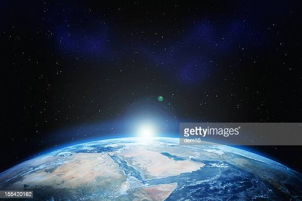 earth with stars - spaceship stock photos and pictures