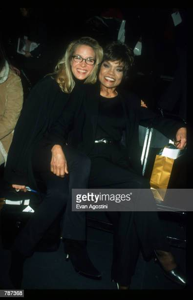 Eartha Kitt and daughter Kitt Shapiro sit backstage February 17 1999 during the Marc Bouwer 1999 Fall Fashion Show in New York City Fashion designer...
