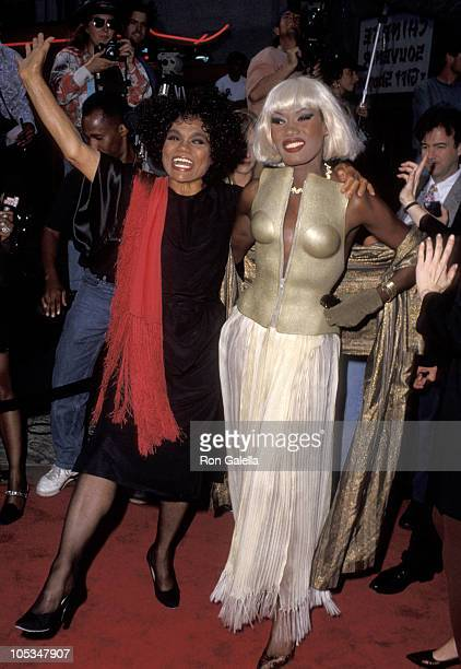 Eartha Kitt and Grace Jones during 'Boomerang' Los Angeles Premiere Arrivals at Mann's Chinese Theater in Hollywood California United States