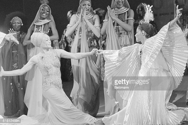 Eartha Kitt and Melba Moore are the picture of grace during a curtain call after their opening night performances in the musical Timbuktu At the Mark...