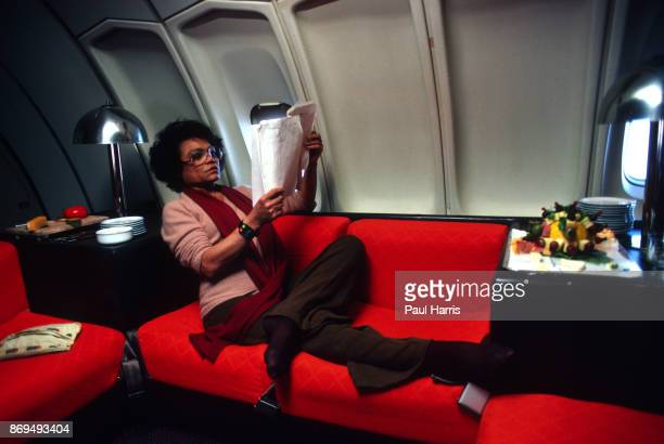 Eartha Kitt flies First Class in a Boeing Jumbo Jet on her way to Los Angeles December 13 somewhere over the United States of American