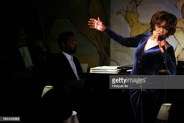 Eartha Kitt performing at the Cafe Carlyle on Wednesday night June 7 2006This imageEartha Kitt with Daryl Waters on piano center and Calvin Jones on...
