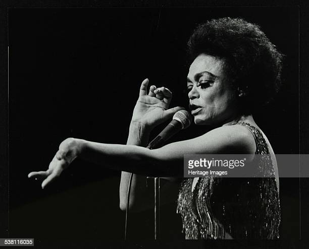 Eartha Kitt performing at the Forum Theatre, Hatfield, Hertfordshire, 20 March 1983. Her concert ended with five curtain calls and a twelve minute...