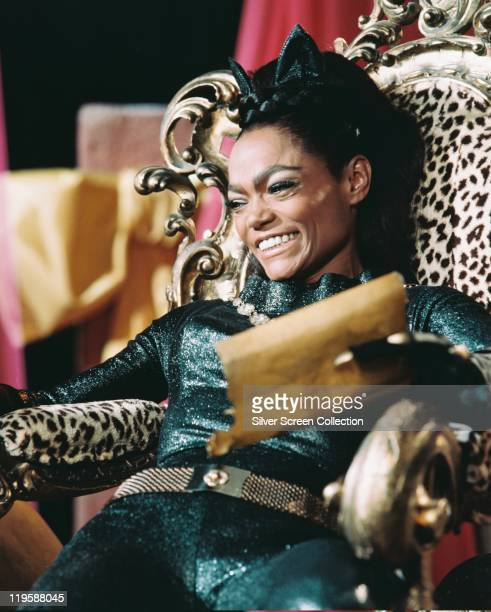 Eartha Kitt US actress and singer in costume sitting in a leopard skin covered chair in a publicity still issued for the US television series...