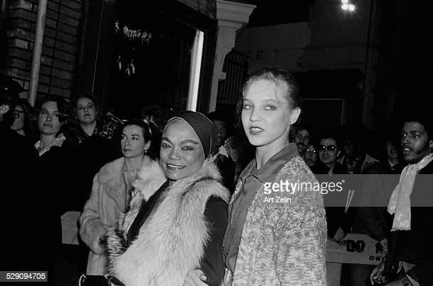 Eartha Kitt with her daughter Kitt MacDonald outside a theater circa 1960 New York