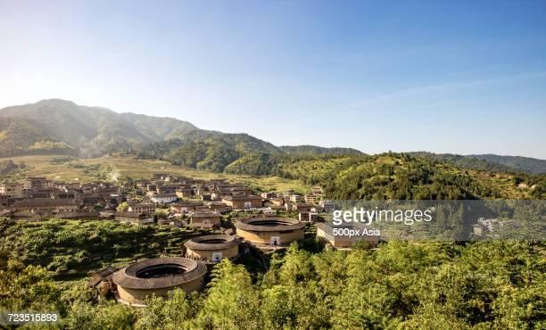 Earthen Tulou buildings in Tianluokeng village, Fujian, China