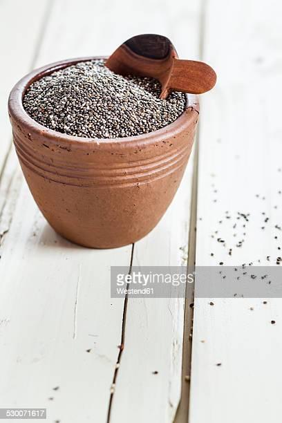 Earthenware dish of organic black chia, Salvia hispanica, on white wood