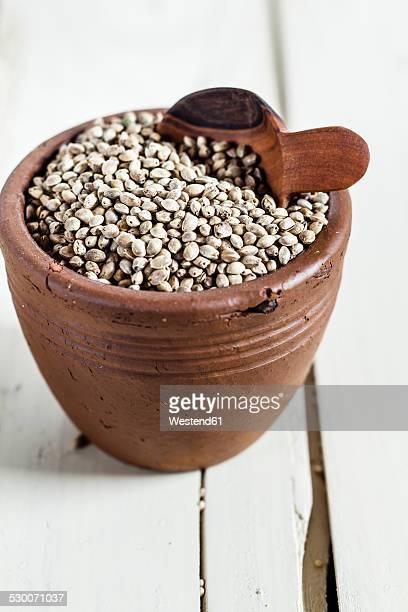 Earthenware dish of organic hemp seed, Cannabis sativa, on white wood