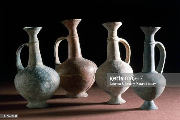 Earthenware juglets with handle and slip The �base ring� pottery style was found in Cyprus during the Late Cypriote period from about 1600 to 1050 BC...