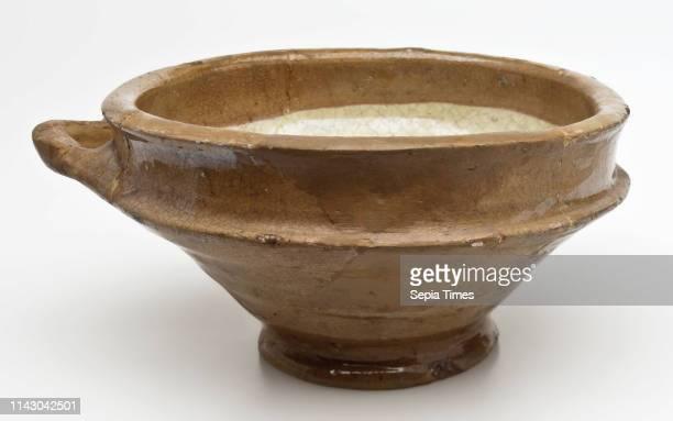 Earthenware pap bowl with lying sausage ear internal yellow glazed papkom bowl crockery holder soil find ceramics earthenware glaze lead glaze clay...