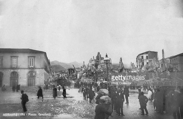 Earthquake damage in the Piazza Cavallotti Messina Sicily Italy December 1908 Messina was almost totally destroyed by an earthquake and tsunami on...