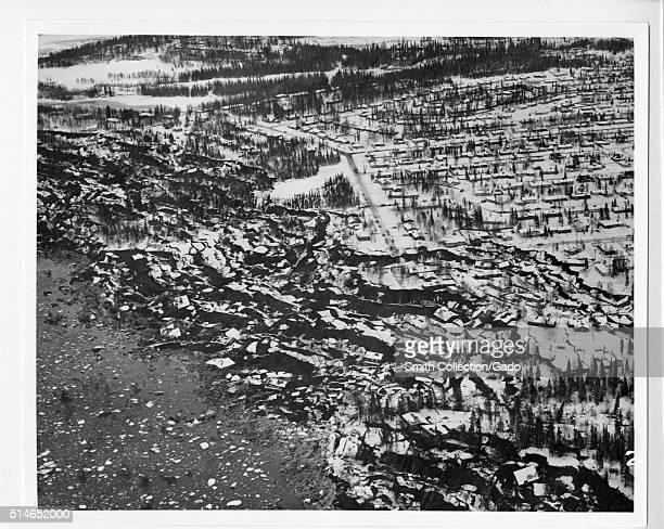 Earthquake damage in the Turnagain Arm residential area Alaska Earthquake Photographs Image courtesy Department of Defense 1965
