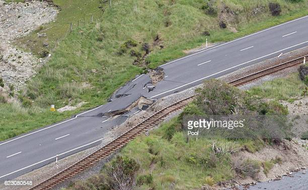 Earthquake damage on State Highway One and the main trunk railway line north of Kaikoura is seen on November 14 2016 in New Zealand The 75 magnitude...