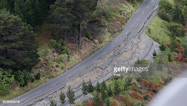 Earthquake damage on State Highway One north of Kaikoura is seen on November 14 2016 in New Zealand The 75 magnitude earthquake struck 20km southeast...