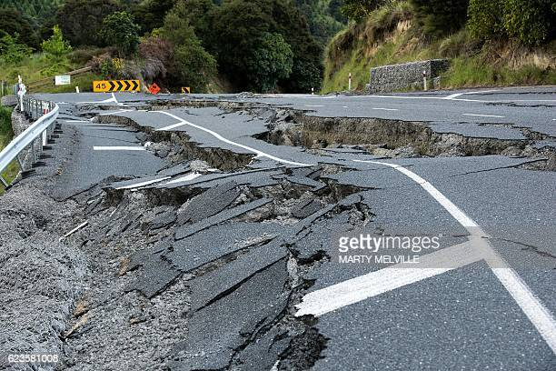 Earthquake damage to State Highway 1 is seen south of Kaikoura on November 16 2016 Rescue efforts after a devastating earthquake in New Zealand...