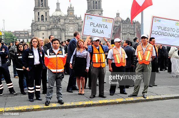 Earthquake drill Government Palace in the Zocalo Federal District on september 19 2011 in Mexico City