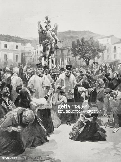 Earthquake in Calabria: procession of St Micheal Archangel to avert new earthquakes, Italy, drawing by Gennaro Amato, from L'Illustrazione Italiana,...
