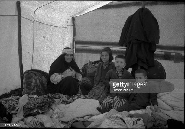 Earthquake in Gediz and Emet Turkey 1970 Family in emergency accommodation