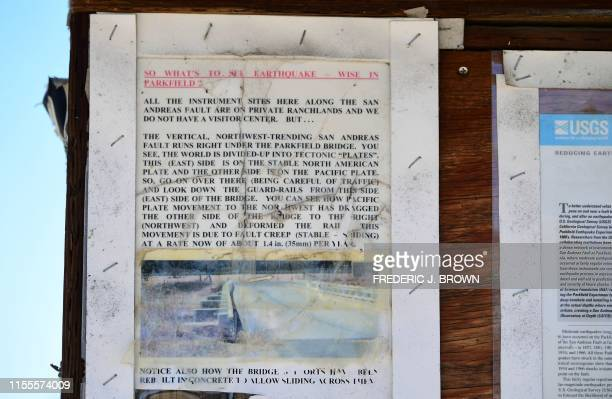 Earthquake information is posted on a community board near the UC Berkeley Seismological Lab for monitoring earthquakes in Parkfield California on...