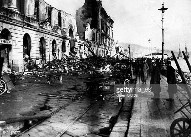 Earthquake Messina 28Dec 1908The destroyed 'Palazzata' at the waterside promenade