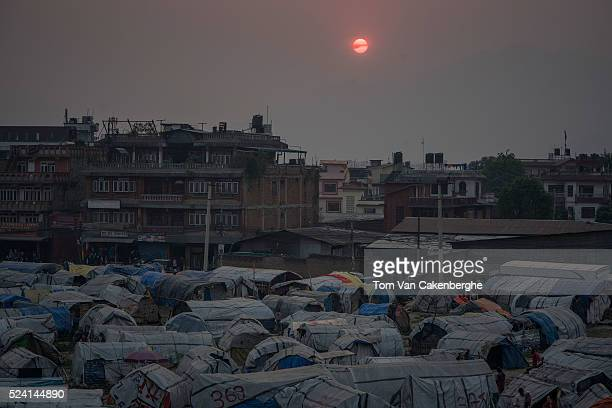 Earthquake victims coming from far and wide live in Chuchepati displacement camp a sprawling squalid displaced persons shelter for earthquake victims...