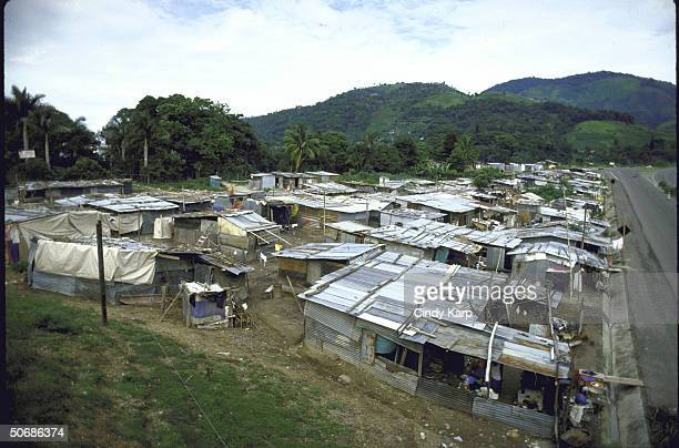 Earthquake victims living in makeshift housing